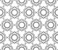 Vector modern seamless sacred geometry pattern floral, black and white abstract Royalty Free Stock Photo