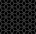 Vector modern seamless sacred geometry pattern flower of life, black and white abstract Royalty Free Stock Photo