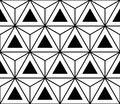Vector modern seamless sacred geometry pattern hexagon triangles, black and white abstract