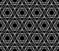 Vector modern seamless sacred geometry pattern star, black and white abstract