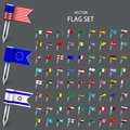 Vector modern set  flags of the world Royalty Free Stock Photo