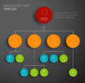 Vector modern and simple organization chart template dark with profiles Stock Photo
