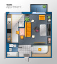 Vector modern studio apartment top view illustration