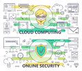 Vector modern thin line Cloud computing and Online security banners Royalty Free Stock Photo