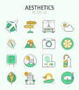 Vector modern thin line flat design of icons set