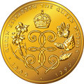 Vector money gold coin dollar bermuda dedicated to queen mother elizabeth with the image of a crown roses and monogram letter e Stock Images
