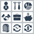 Vector money icons set isolated Royalty Free Stock Photography
