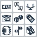 Vector money shopping icons set Royalty Free Stock Photography