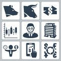 Vector money stock exchange icons set Royalty Free Stock Photos