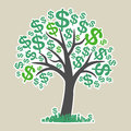 Vector money tree with dollars Royalty Free Stock Photo