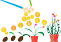 Vector money tree growth concept in flat style, save money, stages of growth of plant and seed to tree Royalty Free Stock Photo