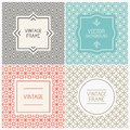 Vector mono line graphic design templates labels and badges on decorative backgrounds with simple patterns Stock Images