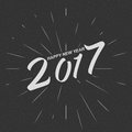 Vector monochrom Happy New Year 2017 for greeting card, flyer, poster logo