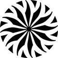 Abstract Vector Black and white Mandala ornament, circular center flower leaves, illustration