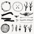 Vector monochrome decoration set with arrows, feathers, floral frames, borders, ribbons, branches. Royalty Free Stock Photo