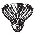 Vector monochrome illustration of motorcycle engine Royalty Free Stock Photo