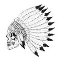 Vector monochrome illustration of stylized skull wearing war bonnet