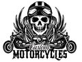 Vector monochrome image with skulls, motorcycles, wings, engine Royalty Free Stock Photo