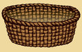 Vector monochrome picture. Empty wicker basket