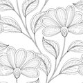 Vector Monochrome Seamless Floral Pattern
