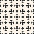 Vector monochrome seamless pattern, geometric background with ro