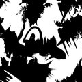 Vector monochrome seamless pattern with ink brush strokes.