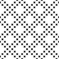 Vector monochrome seamless pattern, small crosses