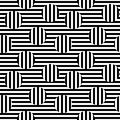 Vector monochrome seamless pattern, striped illusion
