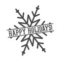 Vector monochrome text Happy Holidays for greeting card, flyer, poster logo with lettering in snowflake.