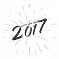 Vector monochrome text Happy New Year 2017 for greeting card, flyer, poster logo
