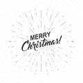 Vector monochrome text Merry Christmas for greeting card, flyer, poster logo with lettering, light rays.