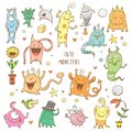 Vector monsters set Royalty Free Stock Photo