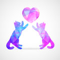 Vector mosaic couple of cats silhouettes loving Stock Photography