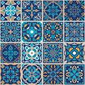 Vector mosaic patchwork ornament with square tiles. Seamless texture. Portuguese azulejos decorative pattern