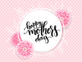 Vector mothers day greetings card with hand lettering - happy mothers day - with chrysanthemum flowers and doodle