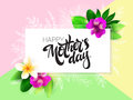 Vector mothers day greetings card with hand lettering - happy mothers day - with tropical flowers - alstroemeria