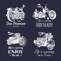 Vector motorcycles advertising posters set. Hand sketched illustrations for MC labels etc. Detailed bikes logos. Royalty Free Stock Photo