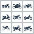 Vector motorcycles icons set Stock Image