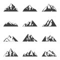 Vector mountain set. Simple black and white icons or design templates. Travel, hiking, camping theme. Royalty Free Stock Photo