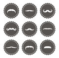 Vector movember mustache labels set of various mustaches on grey retro Royalty Free Stock Photography