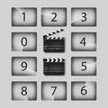 Vector Movie countdown numbers set with clapperboards in different positions. Royalty Free Stock Photo