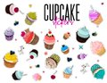 Vector multi colored bakery stickers. Food pin with muffins. Cartoon Cupcake set patch. Sweet dessert summer collection. Frosted b