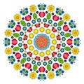 Vector multi colored spring mandala with flowers, butterflies, leaves and tulips - adult coloring book page Royalty Free Stock Photo