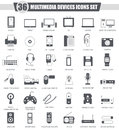 Vector Multimedia devices black icon set. Dark grey classic icon design for web. Royalty Free Stock Photo