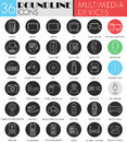 Vector Multimedia devices circle white black icon set. Modern line black icon design for web. Royalty Free Stock Photo