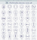 Vector multimedia devices outline icon set. Elegant thin line style design. Royalty Free Stock Photo