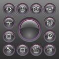 Vector Multimedia Icon Set Stock Image