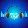 Vector music concept abstract background with headphones icon Royalty Free Stock Image