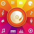 Vector music concept icons on round background in rainbow color Stock Photography