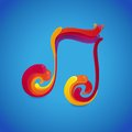Vector music concept musical note symbol made of rainbow splashes Royalty Free Stock Photo